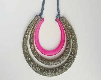 Resin Necklace - Pink and Silver Glitter - Handmade - Statement - One of a Kind - Curved - Gloss - Dense - Adjustable Cord Necklace