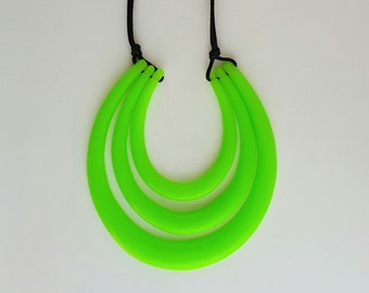 Fluro Green Resin Necklace - Black Adjustable Cord - Handmade - Statement - One of a Kind - Gloss - Adjustable Necklace - Evening