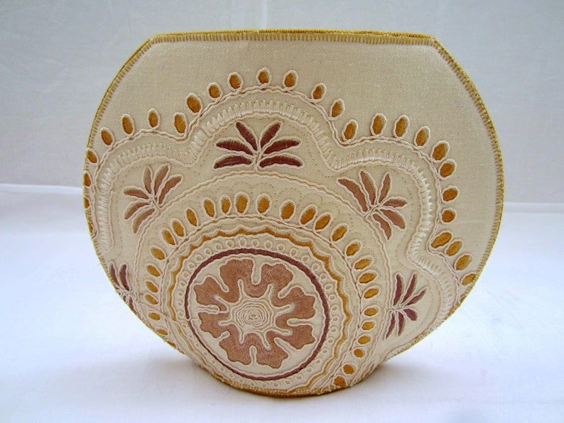 Golden Snowflake big fishbowl fabric vase embroidered taupe cream