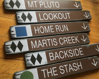 Custom Ski Resort Trail Signs, Handcrafted Rustic Wood Signs, Mountain Decor for Home and Cabin, 4095