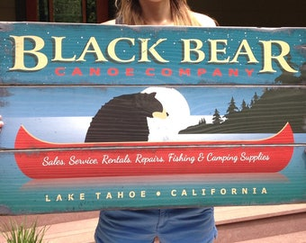 Black Bear Canoe Company, Handcrafted Rustic Wood Sign, Market & Trade Signs, Mountain Decor for Home and Cabin, 3026
