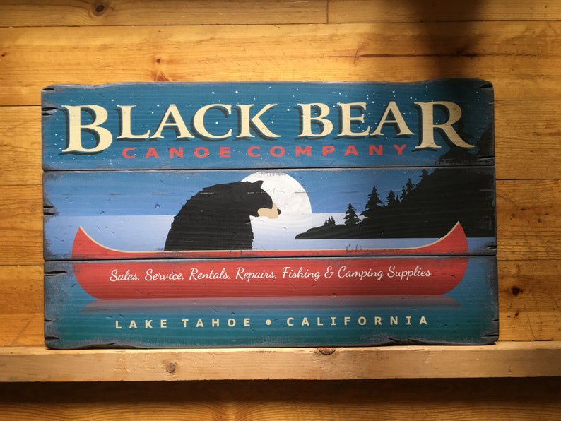 Black Bear Canoe Company Handcrafted Rustic Wood Sign Market Trade Signs Mountain Decor For Home And Cabin 3026