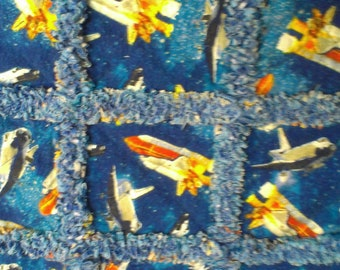 space ship and space shuttle rag quilt