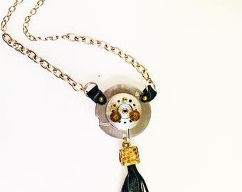 hard drive spinning tassel necklace