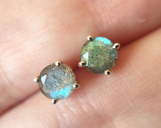 5mm Round Faceted Labradorite Stud Earrings