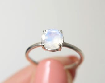 7mm Faceted Moonstone Ring