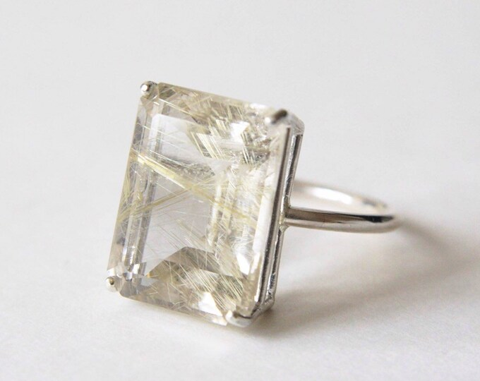 16x12 Emerald Cut Golden Rutilated Quartz Ring