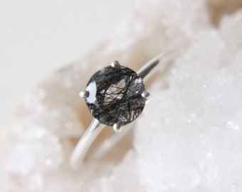 7mm Round Faceted Tourmalinated Quartz Ring