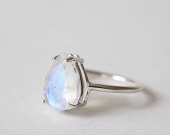 12x8 Pear Cut Faceted Moonstone Ring