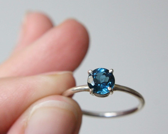 7mm Round London Blue Topaz Ring