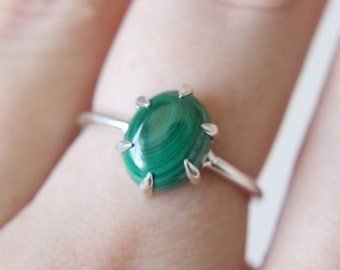 6 Prong Malachite Ring