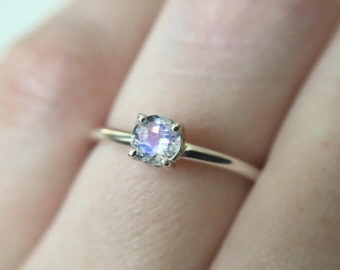 Moonstone Solitaire Ring, Moonstone Engagement Ring, Rainbow Moonstone Ring, 4mm Round Moonstone, Faceted Moonstone Ring, June Birthstone