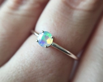 4mm Round Faceted Ethiopian Opal Ring