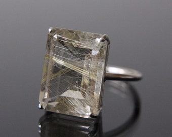 16x12 Emerald Cut Golden Rutilated Quartz Ring