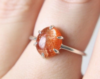 6 Prong Oval Cabochon Sunstone Ring