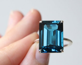 16x12 Emerald Cut London Blue Topaz Ring