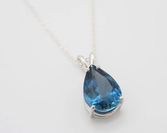 Pear Cut London Blue Topaz Necklace