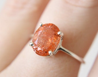 10x8 Oval Faceted Sunstone Ring