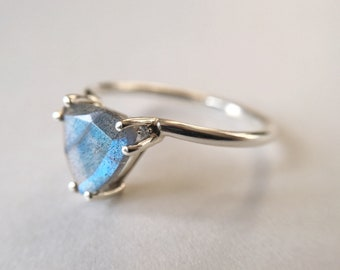 8mm Faceted Trillion Labradorite Ring