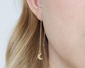 Gold Fill Crescent Moon Threader Earrings