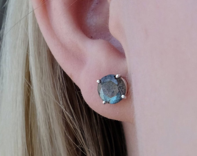 Labradorite Stud Earrings, Faceted Labradorite Earrings, Labradorite Jewelry, 7mm Round Labradorite Stud Earrings, Labradorite Studs