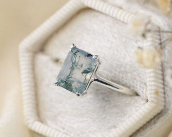 9x7 Emerald Cut Faceted Moss Agate Ring