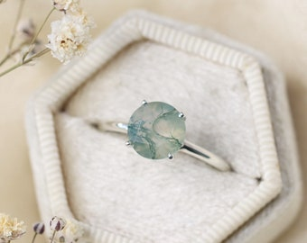 8mm Round Faceted Moss Agate Ring