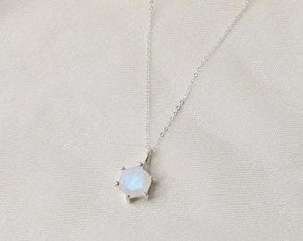 Hexagon Moonstone Necklace