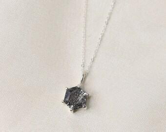 Hexagon Tourmalinated Quartz Necklace