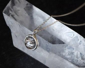 Bezel Set Tourmalinated Quartz Necklace