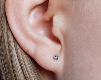 2mm London Blue Topaz Stud Earrings