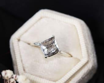7mm Princess Cut Tourmalinated Quartz Ring