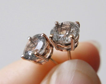 7mm Round Faceted Tourmalinated Quartz Stud Earrings