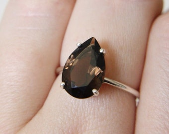 13x9 Pear Cut Faceted Smokey Quartz Ring