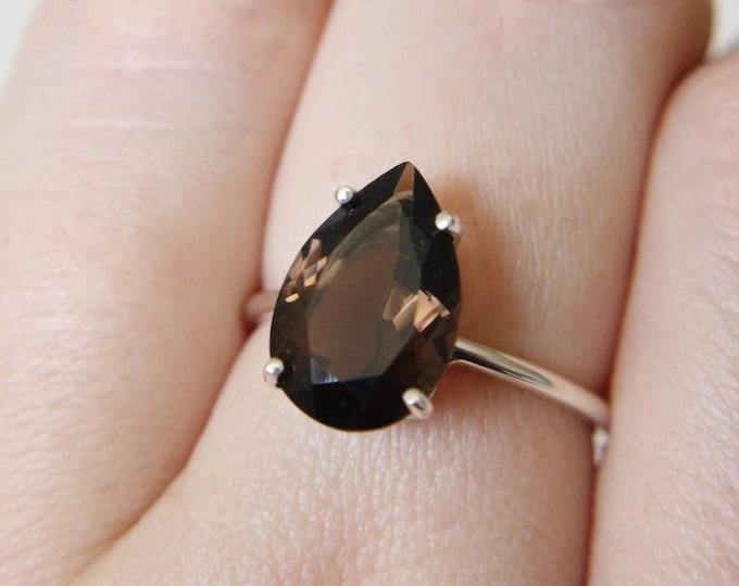 13x9 Pear Cut Faceted Smokey Quartz Ring
