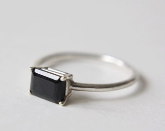 7x5 Emerald Cut Black Spinel Ring
