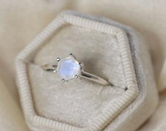 6mm Hexagon Moonstone Ring