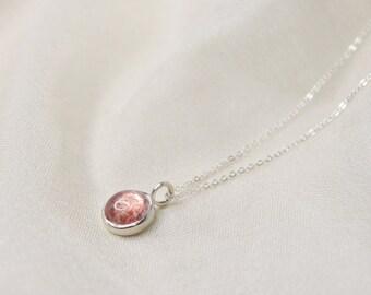 Bezel Set Strawberry Quartz Necklace