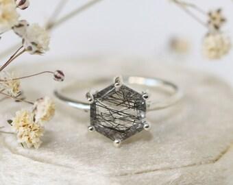 8mm Hexagon Tourmalinated Quartz Ring