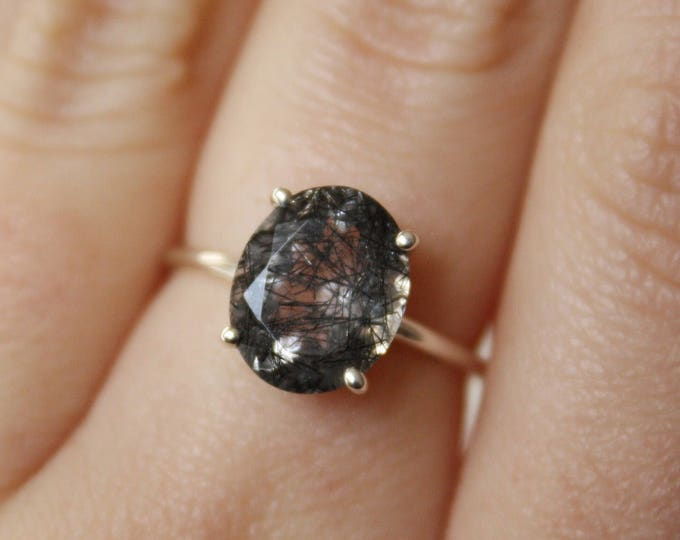 11x9 Oval Faceted Tourmalinated Quartz Ring