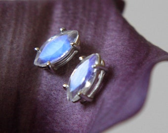 8x4 Marquise Moonstone Studs, Faceted Moonstone