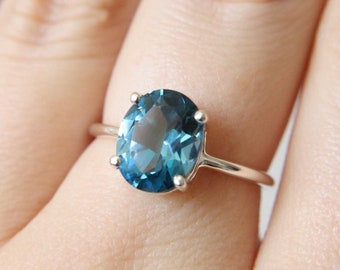 10x8 Oval London Blue Topaz Ring