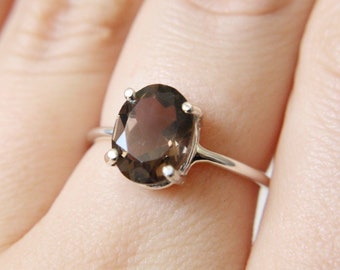 10x8 Oval Faceted Smokey Quartz Ring