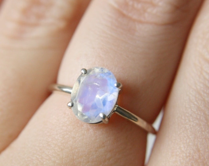 9x7 Faceted Oval Moonstone Ring