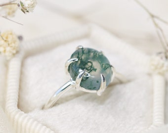 6 Prong Moss Agate Ring