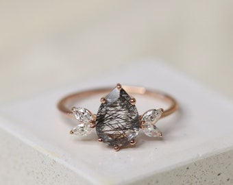 The Siren Ring in Tourmalinated Quartz