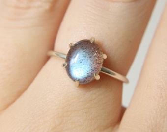6 Prong Labradorite Ring