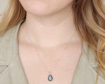 13x9 Pear Cut Labradorite Necklace