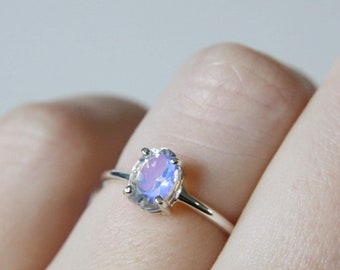 7x5 Oval Faceted Moonstone Ring