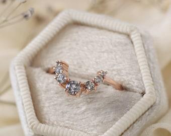 Salt and Pepper Diamond Aura Crown Ring
